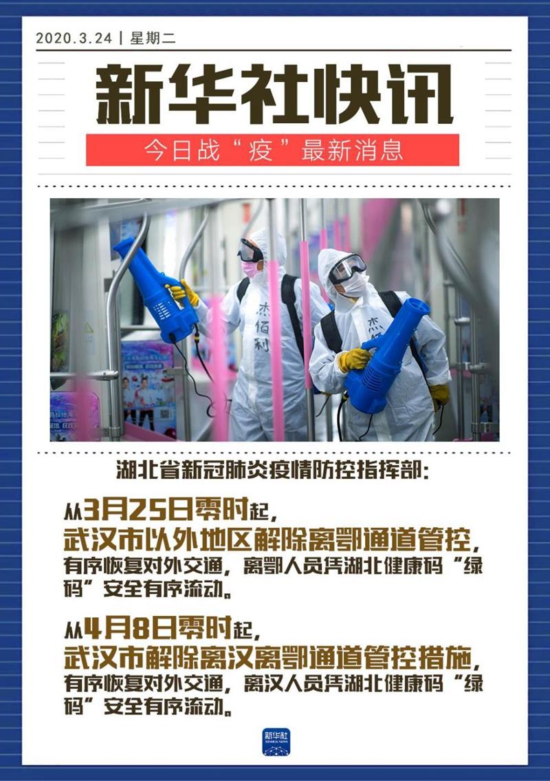 湖北:武汉市4月8日起解除离汉离鄂通道管控措施 武汉市以外地区3月25日起解除离鄂通道管控