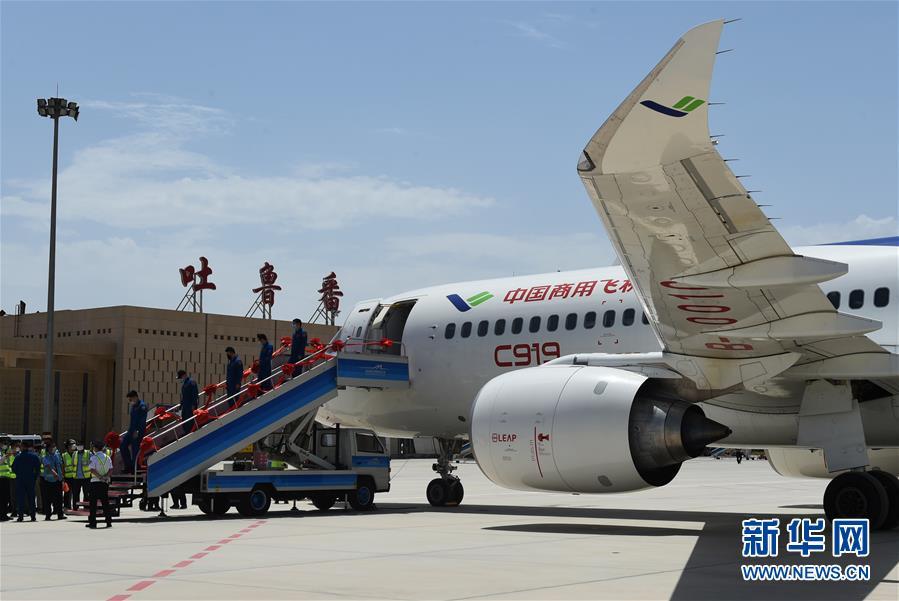 (圖文互動)(5)國産C919客機飛抵吐魯番 開展高溫專項試飛