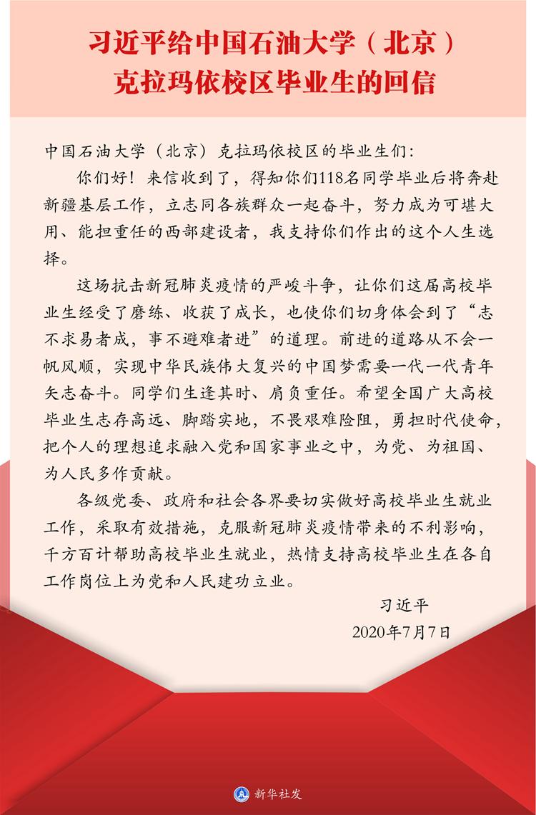 体育官方-习近平给中国石油大学(北京)克拉玛依校区毕业生的回信