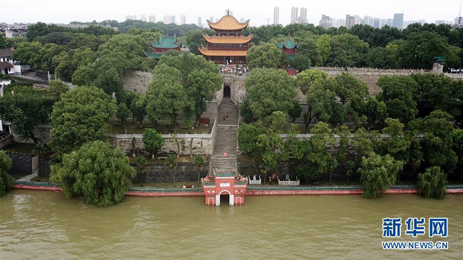 (防汛抗洪)(1)俯瞰高水位下的岳阳楼