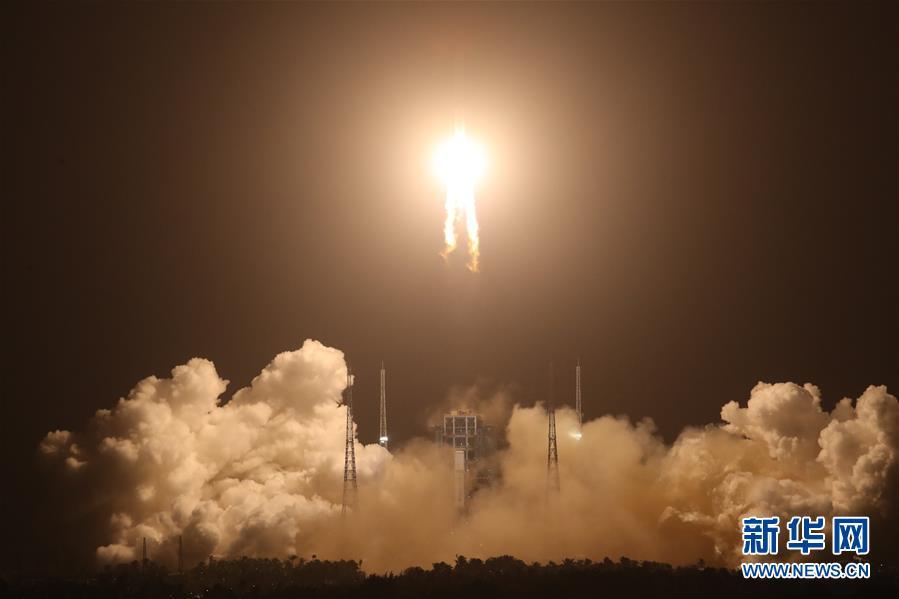 (嫦娥五號探月)(2)長徵五號遙五運載火箭將嫦娥五號探測器發射升空