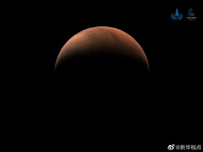 美!天问一号拍了两张火星侧面照