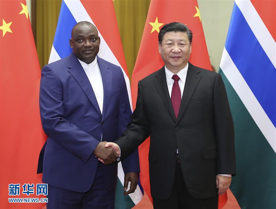 (时政)(1)习近平同冈比亚总统巴罗举行会谈