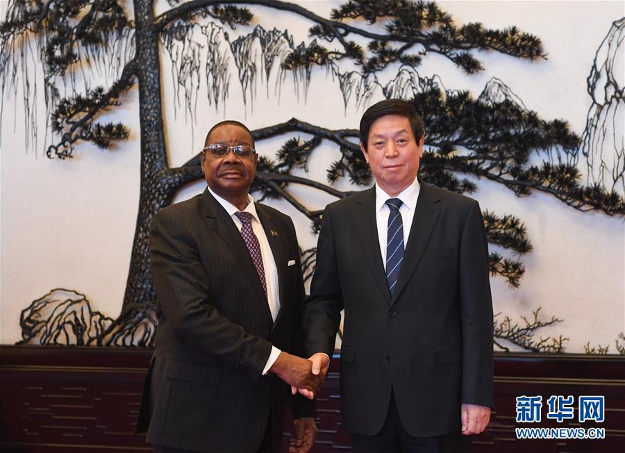 (中非合作论坛)栗战书会见马拉维总统穆塔里卡