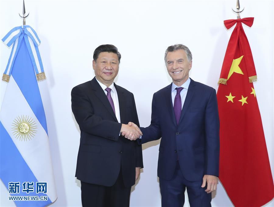 (时政)(1)习近平同阿根廷总统马克里举行谈判
