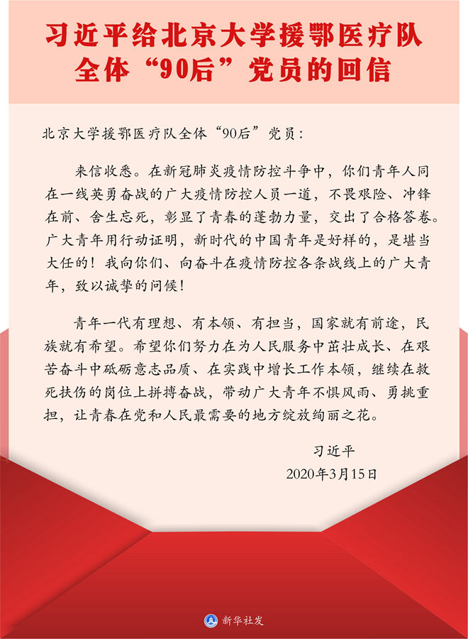 """习近平给北京大学援鄂医疗队全体""""90后""""党员的回信"""