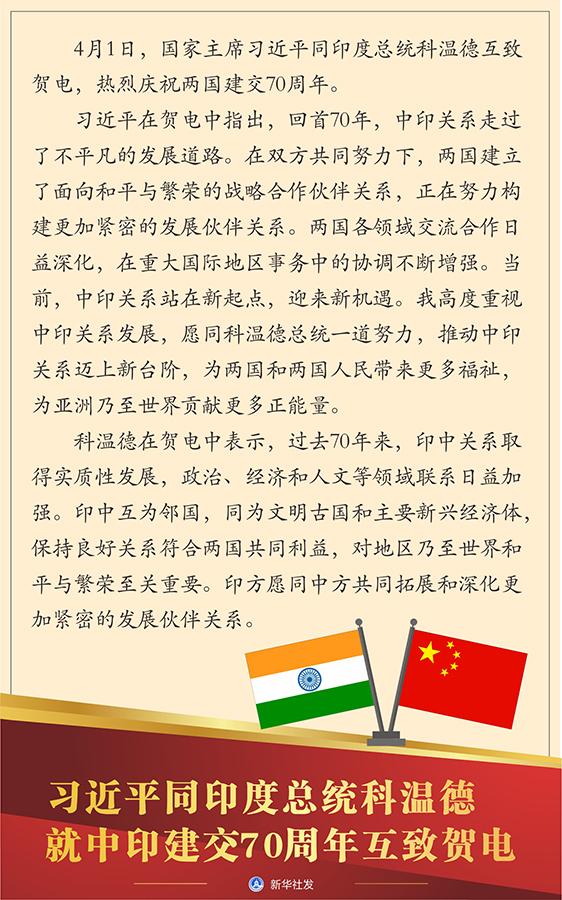 习近平同印度总统科温德就中印建交70周年互致贺电  李克强同印度总理莫迪互致贺电