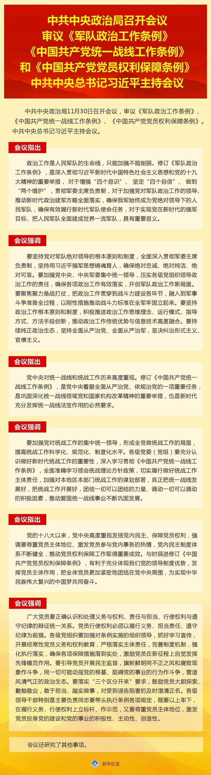 中共中央政治局召开会议 审议《军队政治工作条例》…