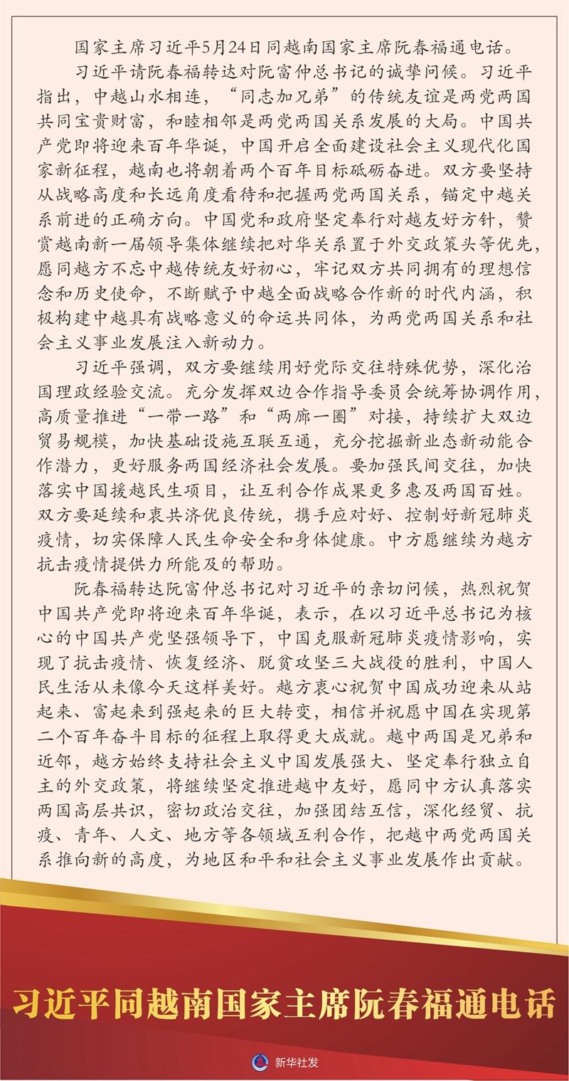 習近平同越南國家主席阮春福通電話