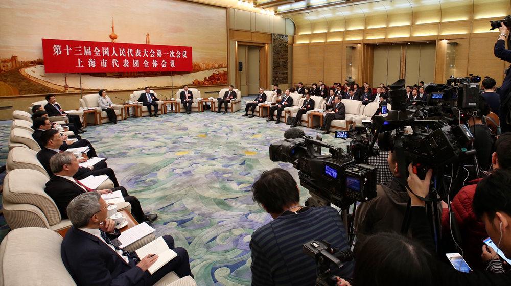 上海代表團全體會議向媒體開放