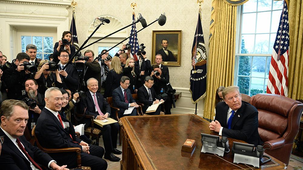 美國總統特朗普會見劉鶴