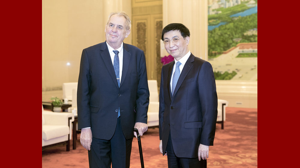 王滬寧會見捷克總統澤曼