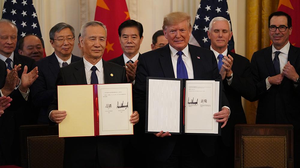 中美第一階段經貿協議簽署儀式在華盛頓舉行