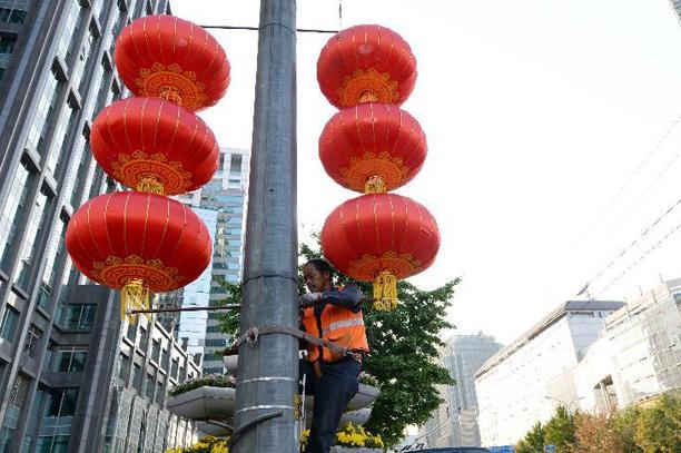 紅燈籠扮靚京城街頭