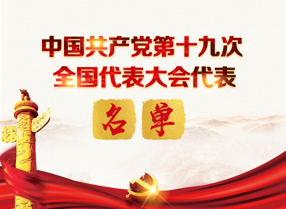中國共産黨第十九次全國代表大會代表名單