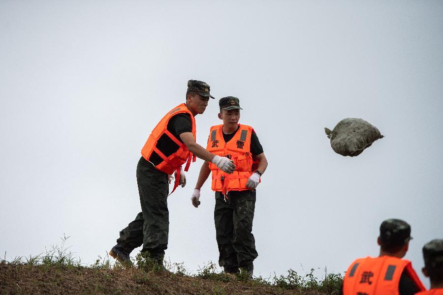 湖南津市:抗洪搶險進行中