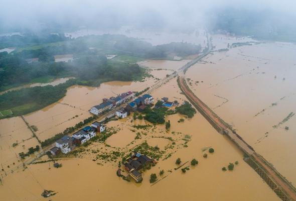 航拍江西湖口:暴雨襲擊 洪水圍困