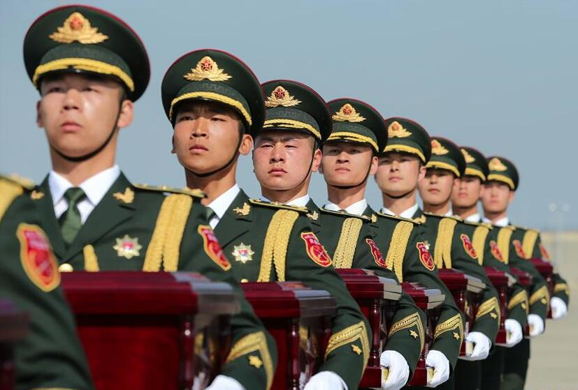 第六批在韓中國人民志願軍烈士遺骸交接儀式在韓國舉行
