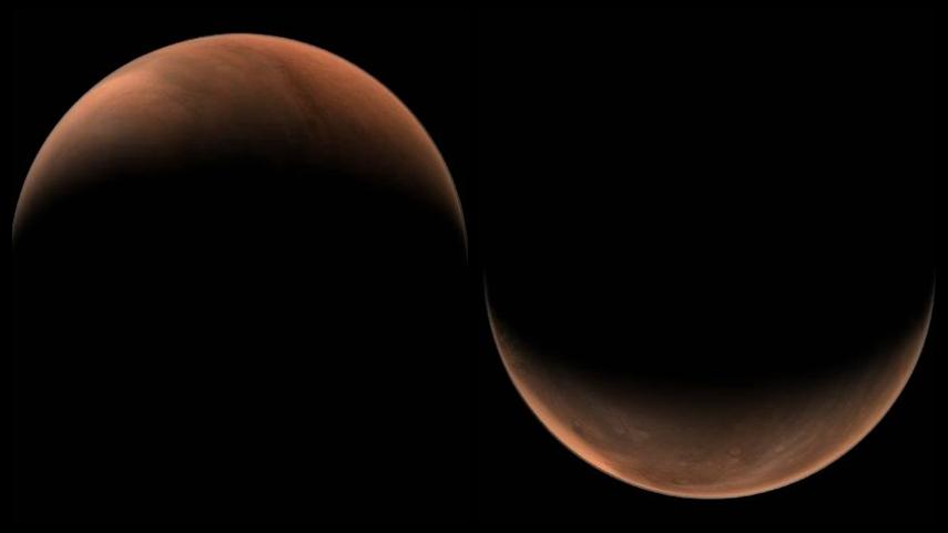 美!天問一號拍了兩張火星側面照
