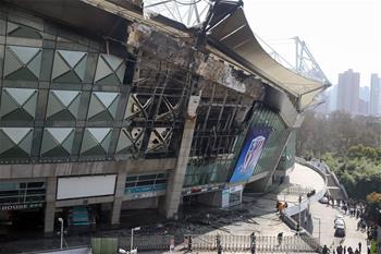上海虹口足球場起火 火勢被撲滅無人受傷