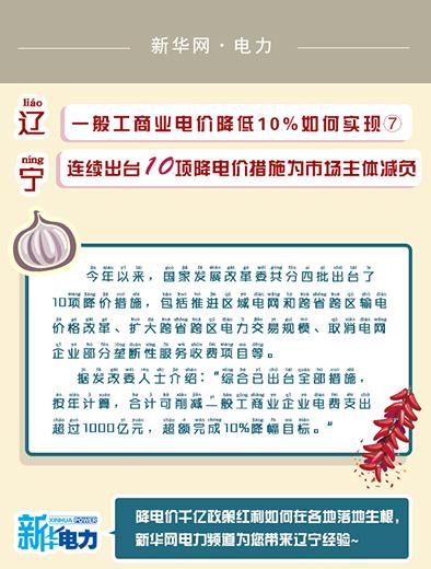 辽宁连续出台10项降电价措施为市场主体减负