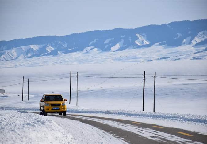 """天山深处""""电小二"""":冰雪世界里最暖的一抹""""黄"""""""