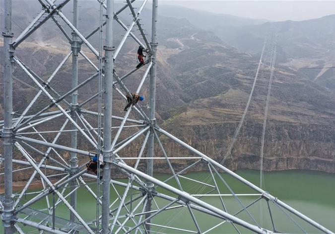 蒙西-晉中特高壓輸電線路跨越黃河
