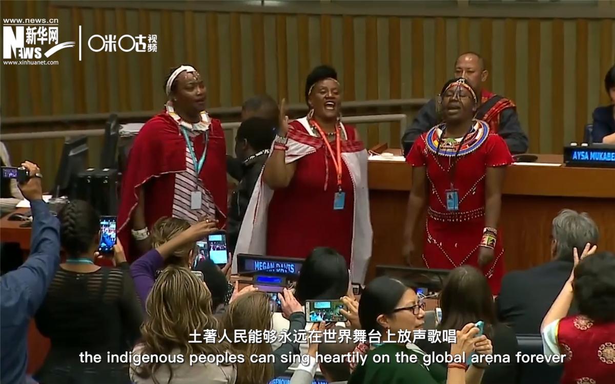 在联合国总部,几乎每年都有土著人的精彩表演
