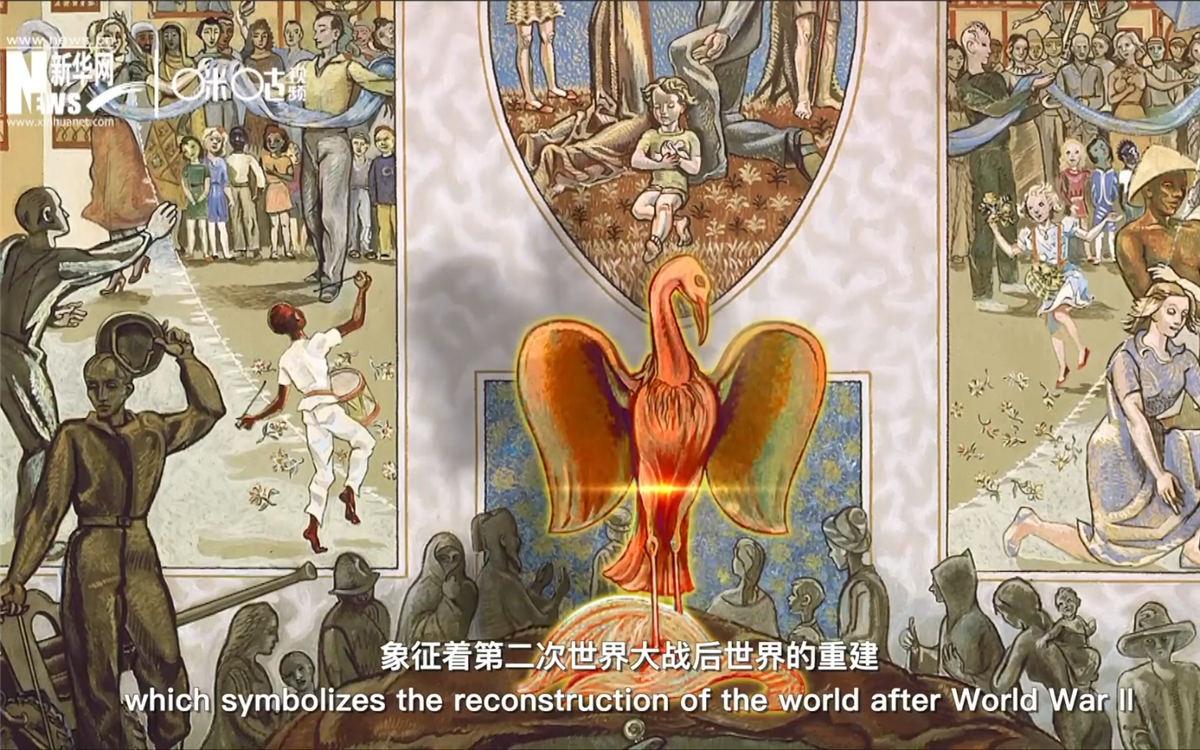安理会会议厅的巨大油画中饱含了热爱和平的深刻寓意