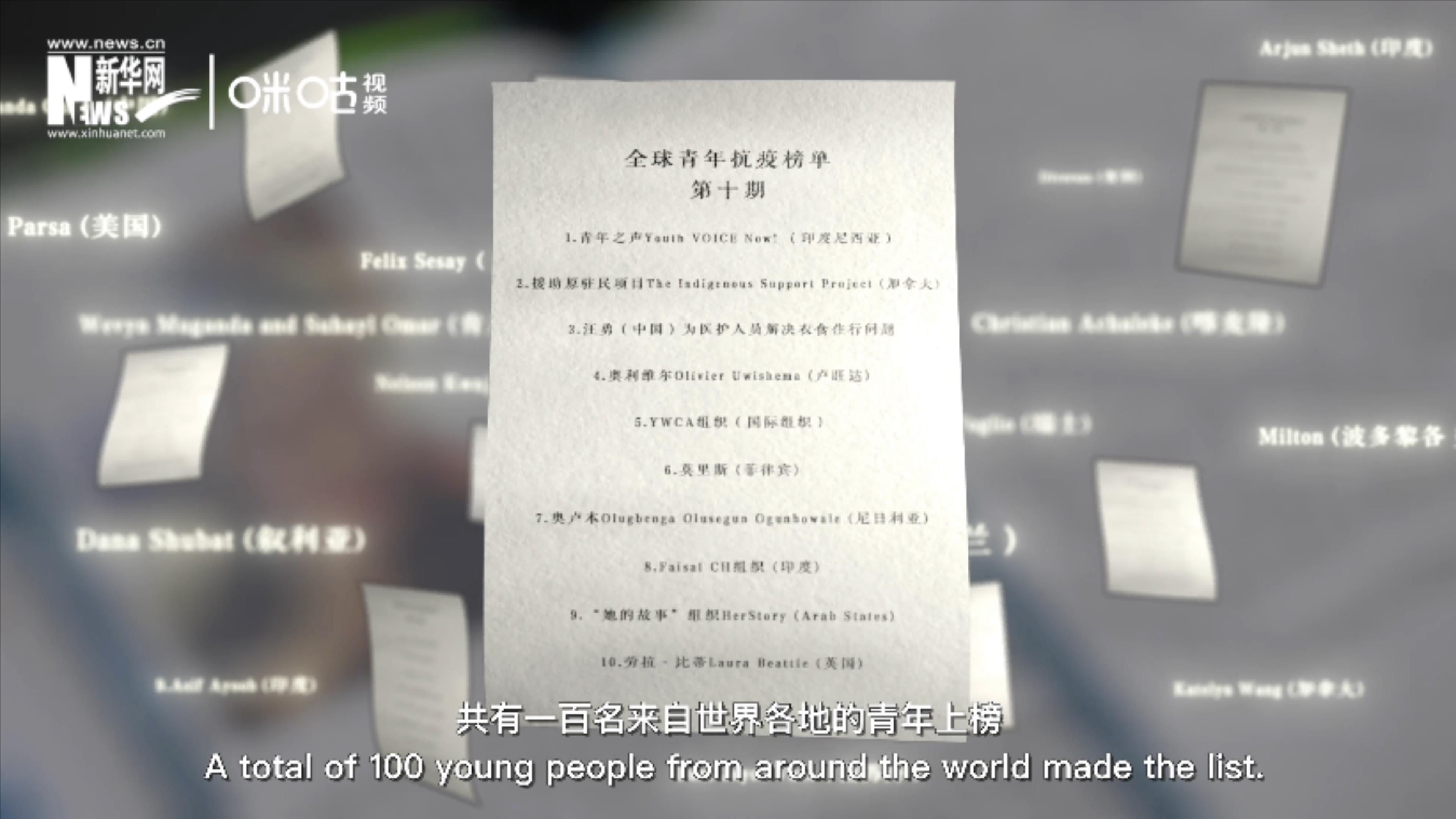 """聯合國共發布十期青年抗""""疫""""榜單"""