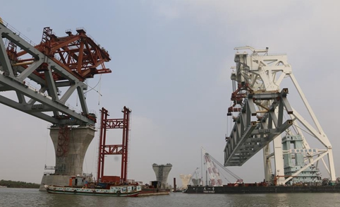 Over 1 km of Bangladesh's Padma Bridge visible