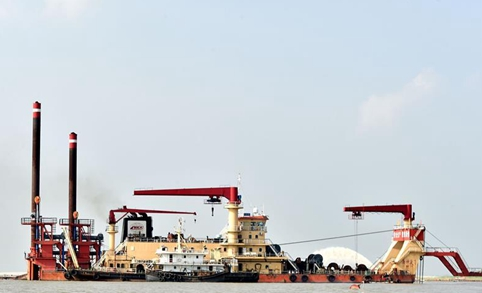 Dredging vessels of Chinese company work on Padma river in Bangladesh