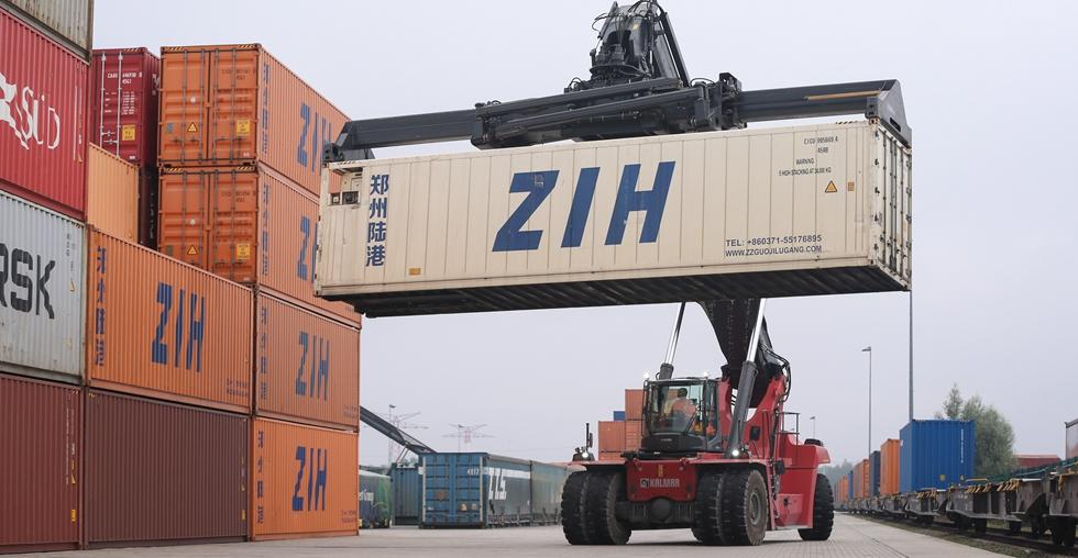 China-Europe freight train links Zhengzhou and Belgium's Liege