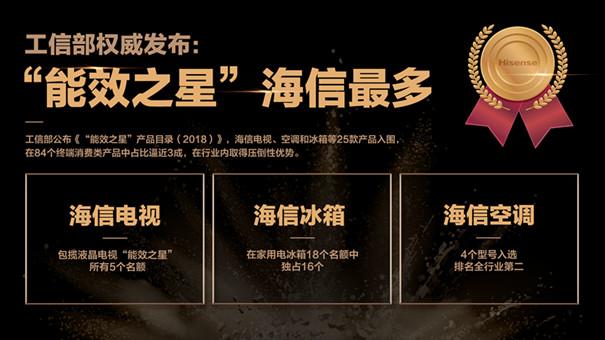 """工信部公布2018""""能效之星"""":海信包攬所有液晶電視名單"""