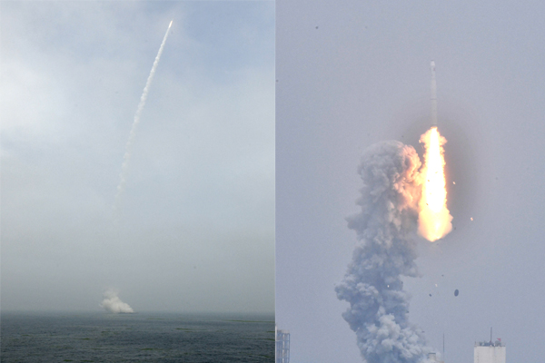 我國首次在海上實施運載火箭發射技術試驗(拼版)