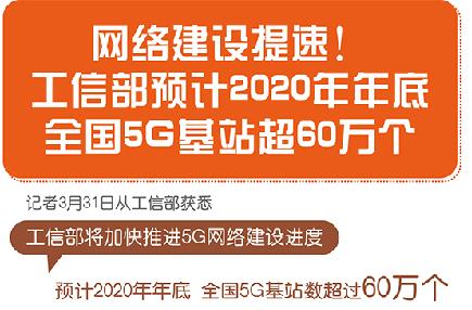 圖表:網絡建設提速!工信部預計2020年年底全國5G基站超60萬個