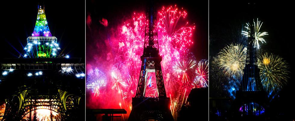 巴黎在埃菲尔铁塔附近燃放烟花庆祝法国国庆(高清)