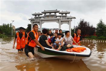 安徽淮北:臺風引發洪澇災害 緊急轉移被困群眾