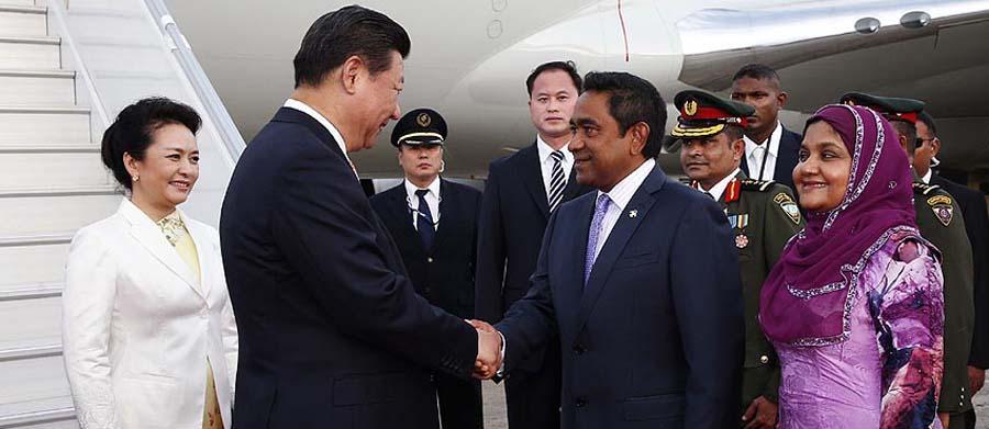 Presidente chino llega a Maldivas para visita de Estado