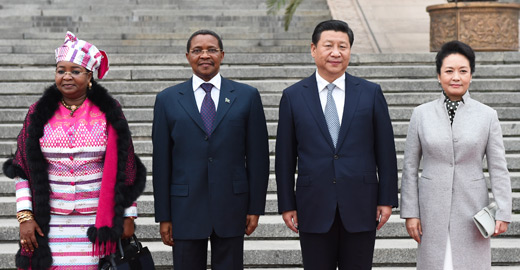 習近平舉行儀式歡迎坦桑尼亞總統基奎特訪華