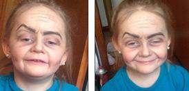 """美国3岁女孩化妆后变""""老奶奶""""走红"""