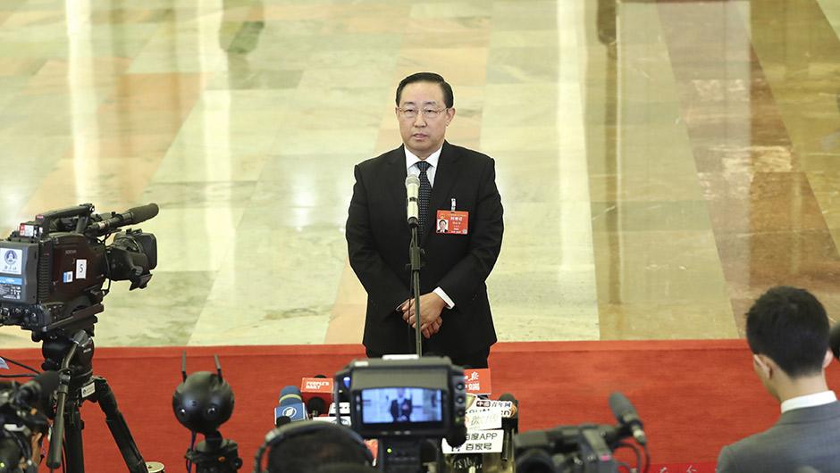 司法部部長傅政華接受採訪