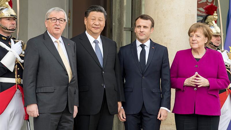 习近平同出席中法全球治理论坛闭幕式的欧洲领导人举行会晤