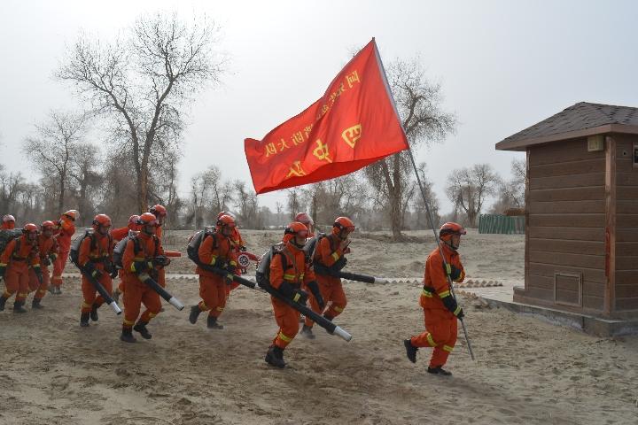 """新疆森林消防靠前驻防保护沙漠""""英雄树"""""""