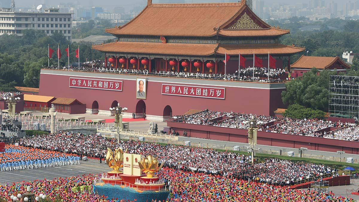 群众游行中的一国两制方阵