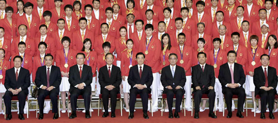 Chinese top leaders meet with mainland delegation to London Olympics