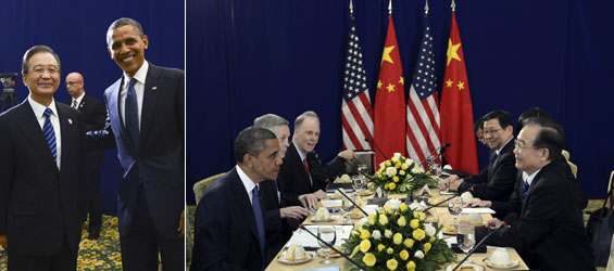 Chinese Premier Wen meets U.S. President Obama