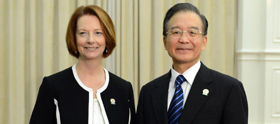 Chinese Premier Wen Jiabao meets with Australian PM in Cambodia