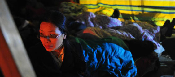 First night after deadly earthquake in Lushan Country