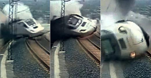 西班牙火车脱轨瞬间视频曝光